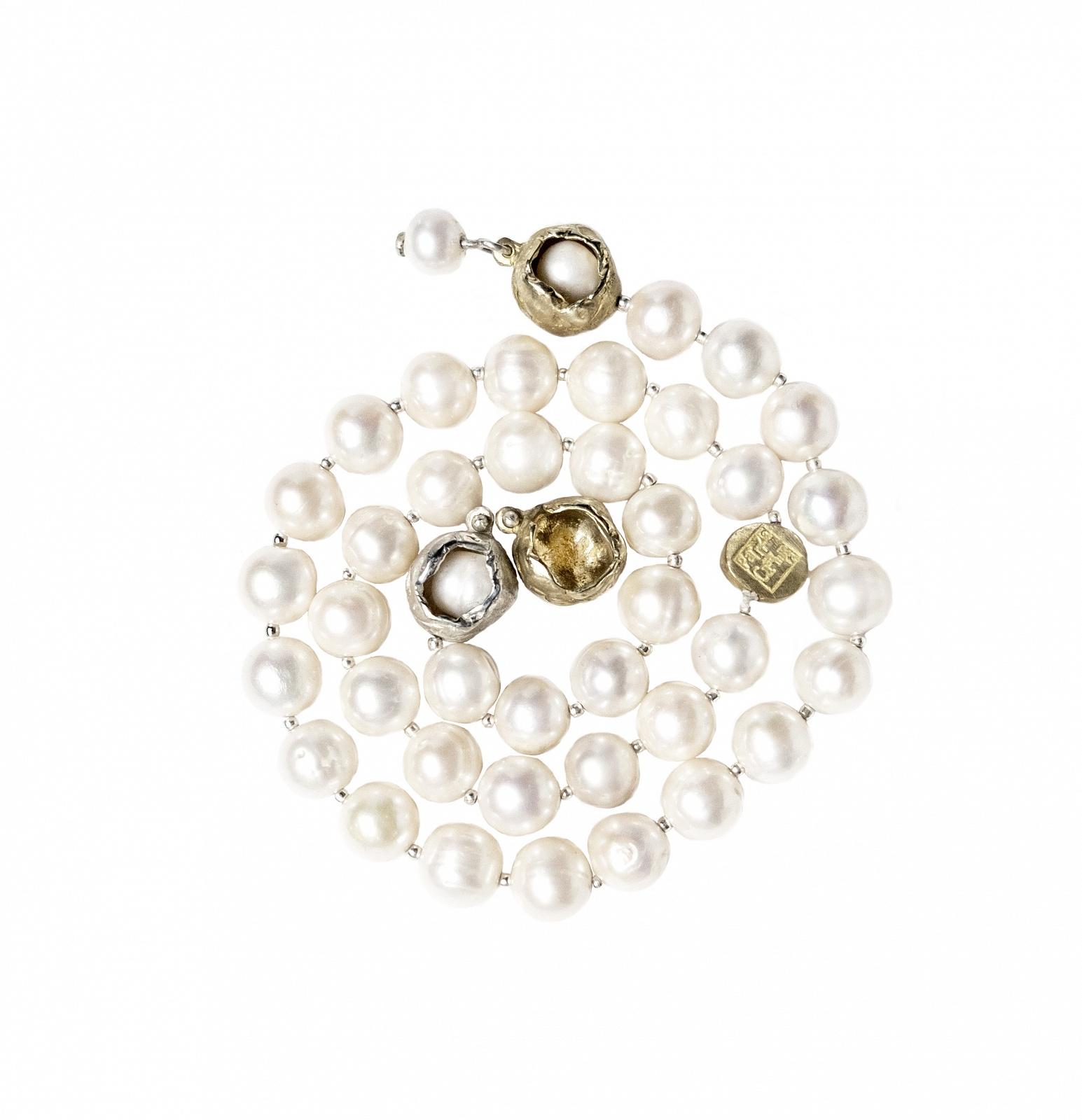 Perla Che Danza Small Short Silver-Bronze-Pearls